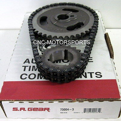 SA GEAR 73004-3 .200 DOUBLE ROLLER TIMING CHAIN SET SB Ford 302 351W 3 KEYWAY