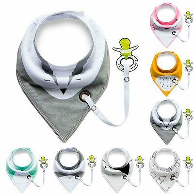 Double Layer Triangle Bibs Baby Infant Toddler Saliva Towel With Pacifier Clip