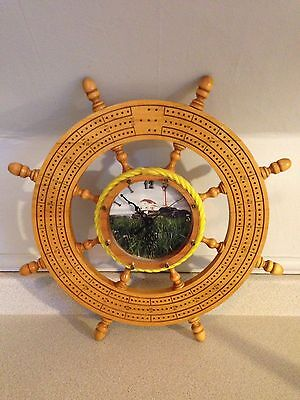 """Nice Hand Crafted Ships Wheel Cribbage Board With Clock, 19.5"""" In Diameter"""