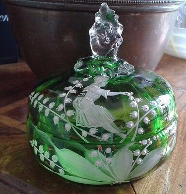 Mary Gregory Victorian Green Glass Lidded Dish