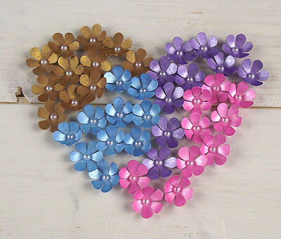 10 pcs FLOWERS handmade 3D paper FLOWER embellishments GOLD PINK PURPLE BLUE