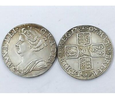 1707 Queen Anne 6 Six Pence SILVER PLATED United Kingdom - COPY COIN