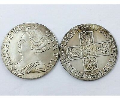 1711 Queen Anne 6 Six Pence SILVER PLATED United Kingdom - COPY COIN