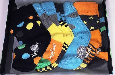 NEW Happy Socks Infant Kids Boys Socks 0-12 Months 6 Pair Comes In A Gift Box!