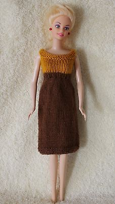 Hand Knit 11-1/2 Inch Fashion Dolls Dress Brown with Yellow Gold
