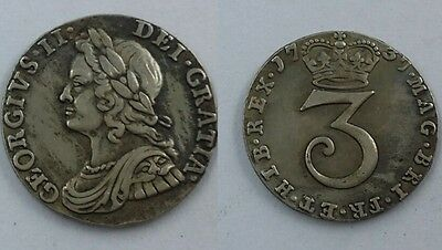 1737 King George II 3 Pence United Kingdom *SILVER PLATED Copy COIN SOUVENIR