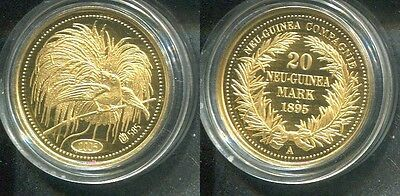 REPRODUKTION DT.NEUGUINEA 1895 - 20 Mark in 585 Gold (3,1g), PP -Paradiesvogel