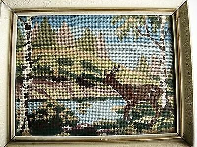 Vintage Swedish framed and glazed hand embroidered tapestry, reindeer by lake
