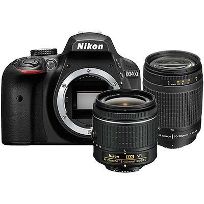 Nikon D3400 24MP Digital SLR Camera + Nikon 18-55mm Lens +  70-300mm Lens