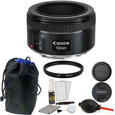 Canon EF 50mm f/1.8 STM Lens with Pouch + Accessory Kit