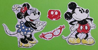 Set of Mickey and Minnie Mouse fabric iron on motifs/patches embellishments