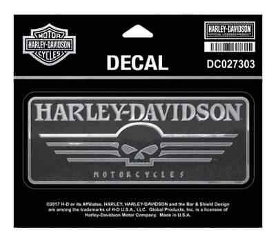 Harley-Davidson Linear Willie G Skull Chrome Decal, MD 5.625 x 2.375 in DC027303