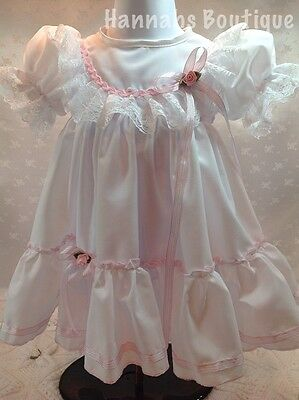 Hannahs Boutique 3-6 Mth Baby White & Pink Spanish Traditional Dress Reborn