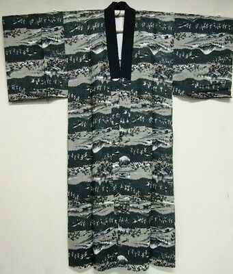 Vintage Men's Japanese Blue & Grey 'Bridges/Men/Fuji' Nagajuban/Kimono/Robe XS