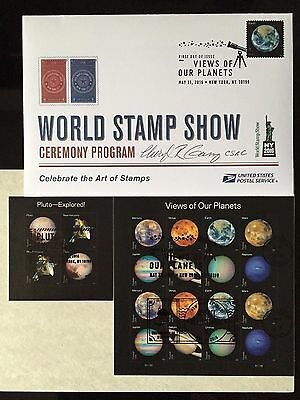 2016 Views our planets & Pluto First Day&Show Cancelled Stamp & Program *Signed