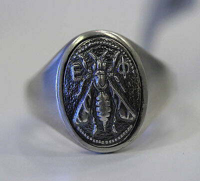 DAVID YURMAN New Mens Petrvs Bee Coin Signet Ring Sterling Silver 9