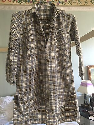 Vintage Shirt 1940's Boy's Long Tail Plaid Grey Yellow White Black Excellent