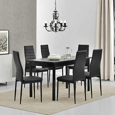[en.casa] Dining Table with 6 Chairs Black 140x60cm Kitchen Room