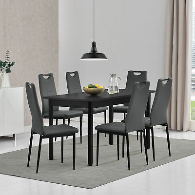 [en.casa] Dining Table with 6 Chairs Black/Grey 140x60cm Kitchen Handle