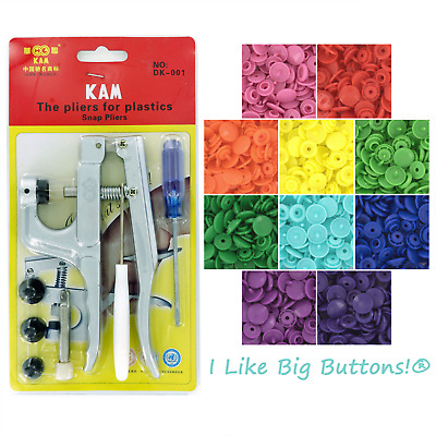 100 Sets KAM Plastic Snaps Starter Pack Pliers/Awl for Cloth Diapers/Bibs/Button