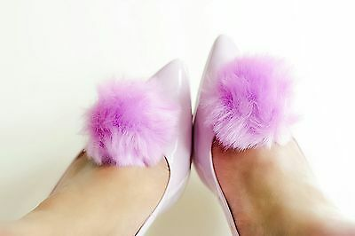 2 Faux Fur Pom Pom shoes clips accessories -in 8 colours.Footwear womens shoes