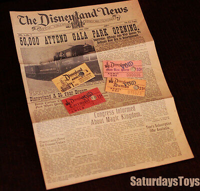 1955 / 2003 Walt Disney DISNEYLAND NEWS Authorized cover + 4 Attraction Tickets