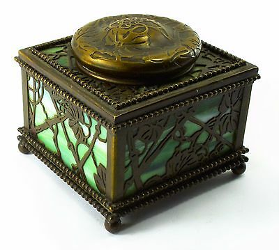 Art Nouveau  Inkwell Tiffany Studio Of New York With Green Swirl Glass Inserts