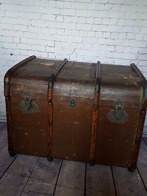 Large Antique Wooden Banded Steamer Flat Top Trunk Shipping Toy Storage Coffee T
