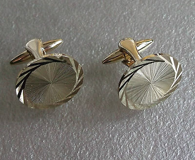 Vintage Cufflinks Metal Mens 1960's 1970's Mod Goldtone Round Cut Metal Pat No