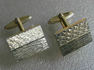 Vintage Cufflinks Metal 1960's 1970's Retro Mod Chunky Goldtone Embossed Design