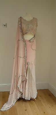 "pink silk  2pc 38"" blouse bollywood Indian salwar kameez SARI lengha SA13806"