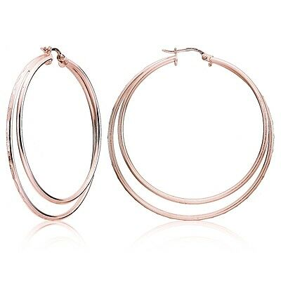 Rose Gold Flash Silver Diamond-cut Double Row Large 48mm Round Hoop Earrings