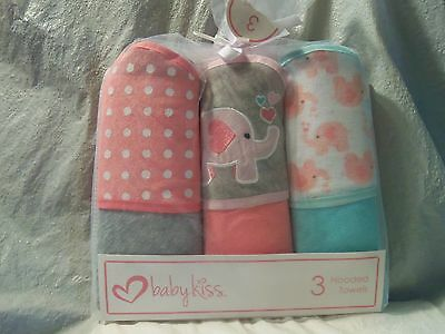 NWT - Baby Kiss Set of 3 Hooded Towels Elephants Pink Girl's