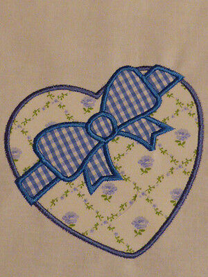 Chocolate Box Heart ~ Embroidered Applique Quilt Block/Panel Laura Ashley Fabric