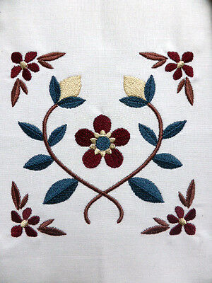 Striking Flower & Vine (Square) ~ Embroidered Quilt Block/Panel