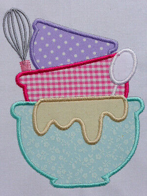 Baking Bowls~ Embroidered Applique Quilt Block/Panel