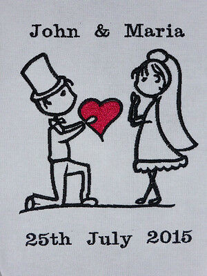 Bride & Groom 'Stick People' ~ Embroidered Quilt Block/Panel - Personalised