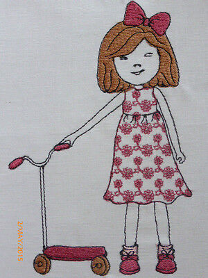 Whimsical Girl with Scooter ~ Embroidered Quilt Block/Panel