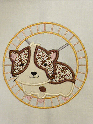 Cute Hamster in a Wheel ~ Embroidered Applique Quilt Block/Panel