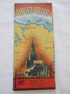Intourist Map of the Soviet Union Europe Pamphlet Brochure Itineraries 1939