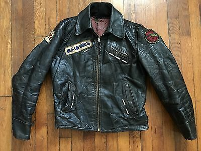 VTG 50s 60s LEATHER MOTORCYCLE HARLEY MC JACKET PATCHES STUDDED SZ 38