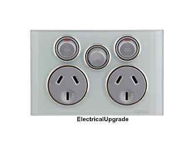 Clipsal Saturn Offer Double Power Point 10A with Extra Switch 4025XA Avail color