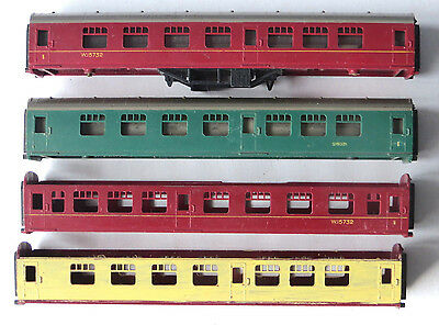 4 x Triang TT gauge mk1 coach body, for spares or repairs, TT scale