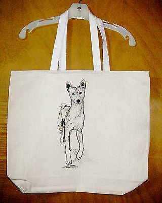 BASENJI -- Coming&Going XL 100% Cotton Canvas Tote Bag