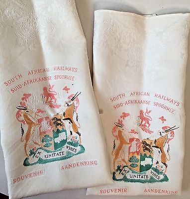 2 pc VTG South African Railways Linen Napkins Coat of Arms 1947 British Royalty