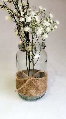 12 x Glass Jars Vintage Vases Wedding Centrepiece Shabby Chic Hessian Lace Twine