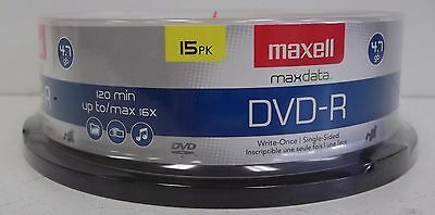 Maxell 15 Pack DVD-R 4.7gb Gold New With Spindle