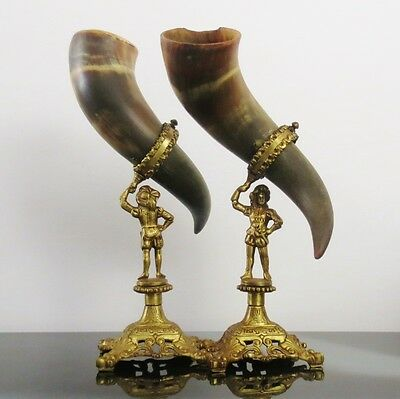 Viking Drinking Horn Collectables Pair Copper/Brass Holder Vintage