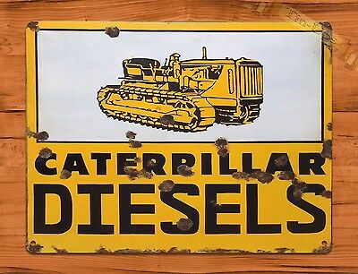 "TIN-UPS TIN SIGN ""Caterpillar Diesel"" Farm Rustic Wall Decor"