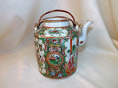 Antique Chinese Rose Medallion Famille Teapot with lid.